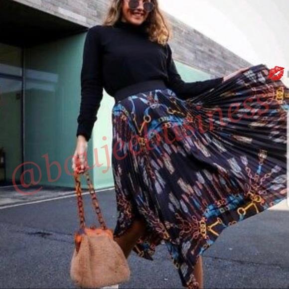 bd664cc0ba Zara Skirts | Scarf Chain Print Asymmetric Pleated Skirt | Poshmark